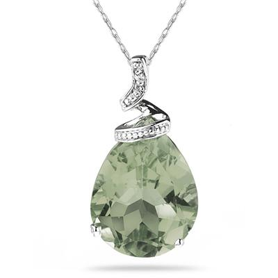 5 Carat Pear Shaped Green  Amethyst  & Diamond Pendant in 10K White Gold