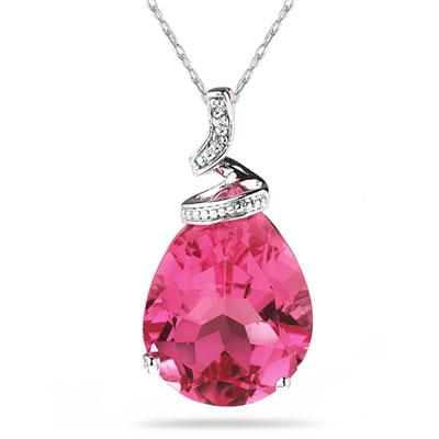 5 Carat Pear Shaped Pink  Topaz & Diamond Pendant in 10K White Gold