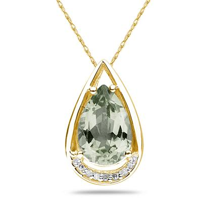 Pear Shaped Green Amethyst and Diamond Raindrop Pendant in 10k Yellow Gold