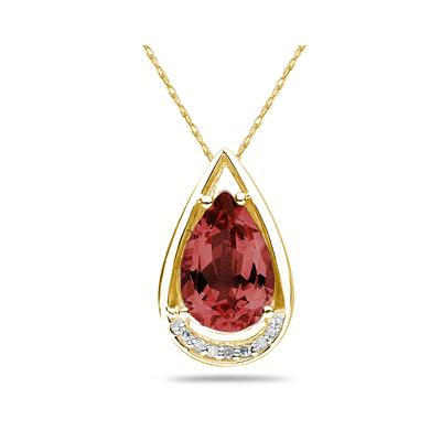 Pear Shaped Garnet and Diamonds Raindrop Pendant in 10k Yellow Gold