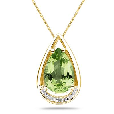 Pear Shaped Peridot and Diamond Raindrop Pendant in 10k Yellow Gold