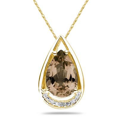 Pear Shaped Smokey Quartz and Diamond Raindrop Pendant in 10k Yellow Gold