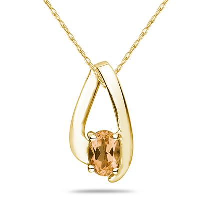 Citrine  Loop Pendant Necklace 10K Yellow Gold