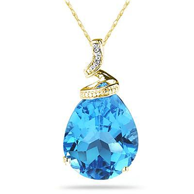 5 Carat Pear Shaped Blue Topaz & Diamond Pendant in 10K Yellow Gold