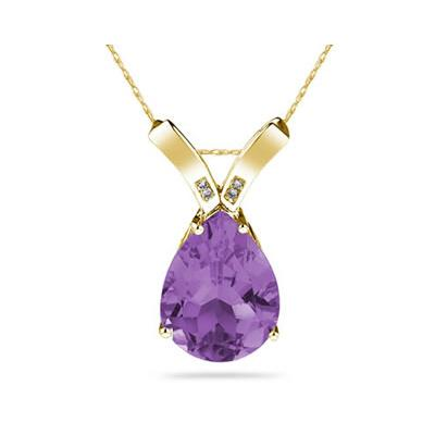 10 1/4 Carat Pear Shaped Amethyst & Diamond Pendant in 10K Yellow  Gold