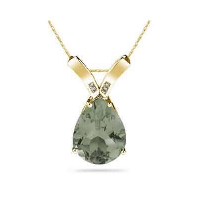 10 1/4 Carat Pear Shaped Green Amethyst & Diamond Pendant in 10K Yellow  Gold