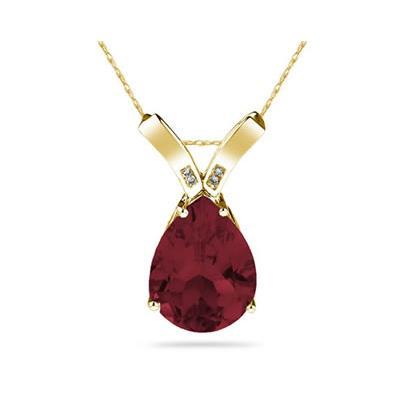 10 1/4 Carat Pear Shaped Garnet & Diamond Pendant in 10K Yellow Gold