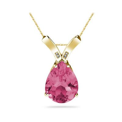 10 1/4 Carat Pear Shaped Pink Topaz & Diamond Pendant in 10K Yellow Gold