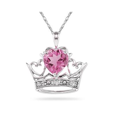 Pink Topaz & Diamond Crown Heart Pendant in 10K White Gold