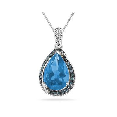 Pear Shaped Blue Topaz and Blue Diamonds Raindrop Pendant in White Gold