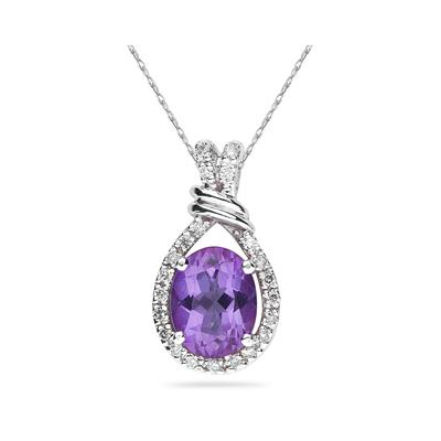Oval Shaped Amethyst and Diamonds Pendant in 14k White Gold