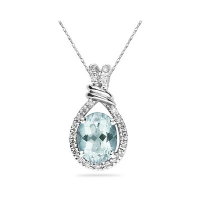 Oval Shaped Aquamarine and Diamonds Pendant in 14k White Gold
