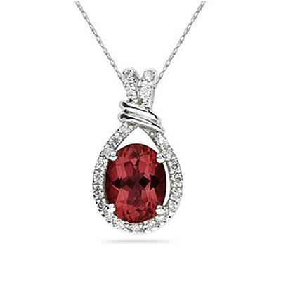 Oval Shaped Garnet and Diamonds Pendant in 14k White Gold