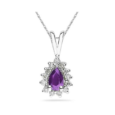 6X4mm Pear Shaped Amethyst and Diamond Flower Pendant in 14k White Gold