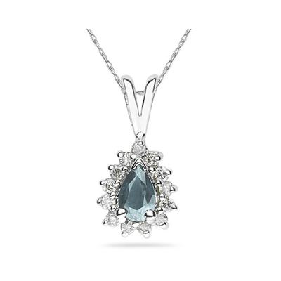 6X4mm Pear Shaped Aquamarine and Diamond Flower Pendant in 14k White Gold