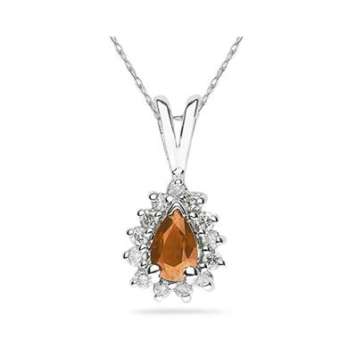 6X4mm Pear Shaped Citrine and Diamond Flower Pendant in 14k White Gold