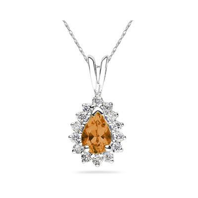 Pear Shape Citrine & Diamond Pendant in 14K White Gold