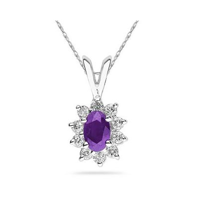 6X4mm Oval Shaped Amethyst and Diamond Flower Pendant in 14k White Gold