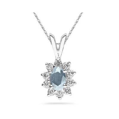6X4mm Oval Shaped Aquamarine and Diamond Flower Pendant in 14k White Gold
