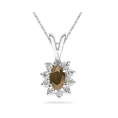 6X4mm Oval Shaped Smokey Quartz and Diamond Flower Pendant in 14k White Gold