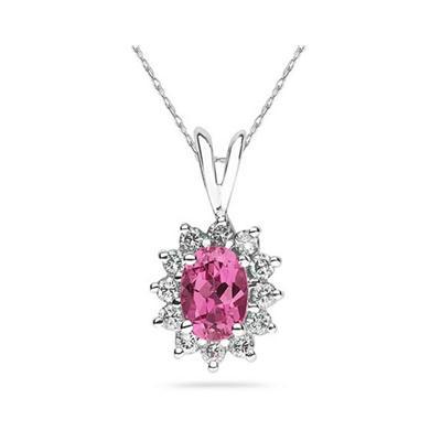 Oval Shape Pink Topaz & Diamond Pendant in 14K White Gold