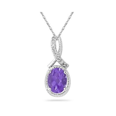 Oval Shape Amethyst and Diamond Pendant in 10K White Gold