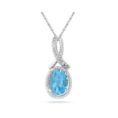 Oval Shape Blue Topaz and Diamond Pendant in 10K White Gold