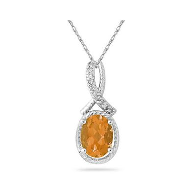 Oval Shape Citrine and Diamond Pendant in 10K White Gold