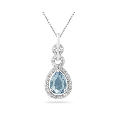 Pear Shape Aquamarine and Diamond Pendant in 10K White Gold