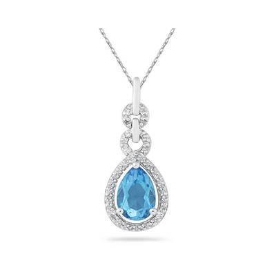 Pear Shape Blue Topaz and Diamond Pendant in 10K White Gold