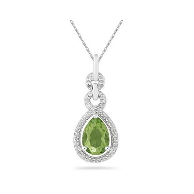 Pear Shape Peridot and Diamond Pendant in 10K White Gold