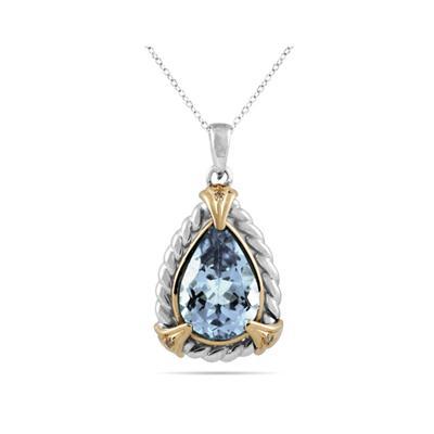 Pear Shape Aquamarine and Diamond Pendant 14K Yellow Gold and Silver