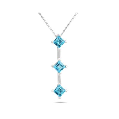 1.35ctw Three  Blue Topaz  Drop Pendant in White Gold
