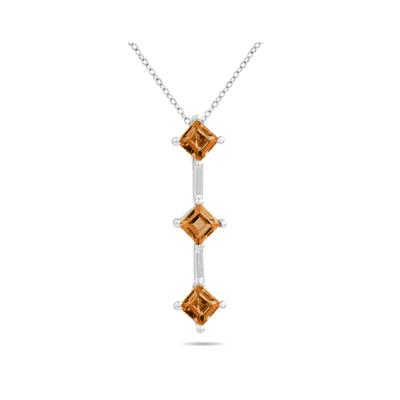 1.35ctw Three Citrine Drop Pendant in White Gold