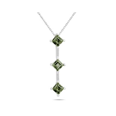 1.35ctw Three Green Amethyst Drop Pendant in White Gold