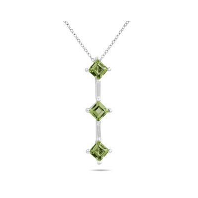 1.35ctw Three Peridot Drop Pendant in White Gold