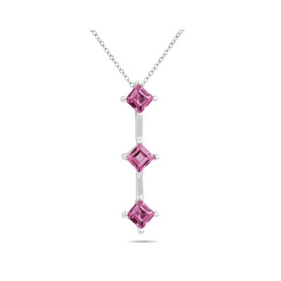 1.35ctw Three Pink Topaz Drop Pendant in White Gold