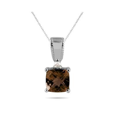 Smokey Quartz and Diamond Pendant 10k White Gold
