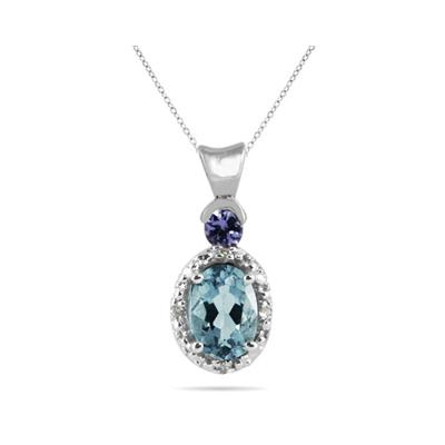 Aquamarine and Tanzanite Diamond Pendant in 10k White Gold