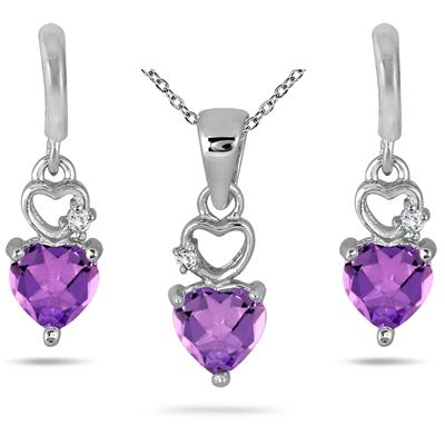 1.70 Carat All Natural Heart Shaped Amethyst and Diamond Set in .925 Sterling Silver