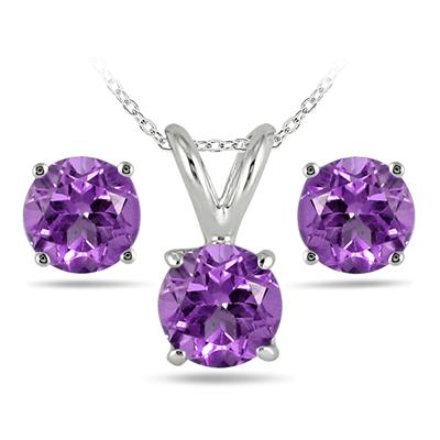 2.50 Carat All Natural Amethyst Stud Jewelry Set in .925 Sterling Silver