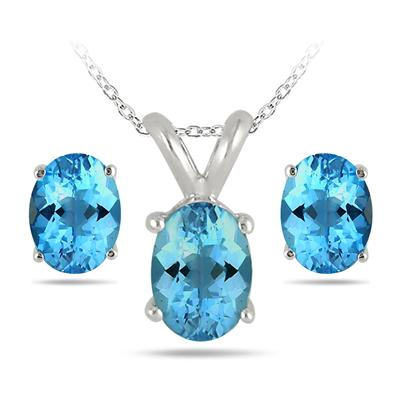 3.50 Carat All Natural Oval Blue Topaz Stud Jewelry Set in .925 Sterling Silver