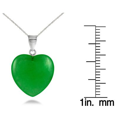 15mm All Natural Jade Heart Pendant and Earring Set in .925 Sterling Silver