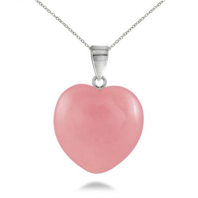 15mm All Natural Pink Jade Heart Pendant and Earring Set in .925 Sterling Silver