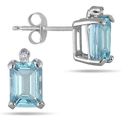 3.00 Carat Emerald Cut Aquamarine and Diamond Earrings and Pendant Set in .925 Sterling Silver