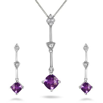 Amethyst and White Topaz Pendant and Earring Set in .925 Sterling Silver
