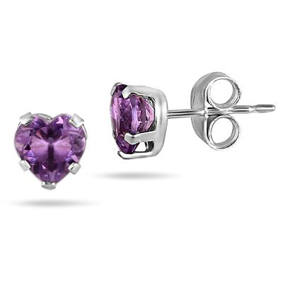 5-6MM Amethyst Heart Earring and Pendant Set in .925 Sterling Silver