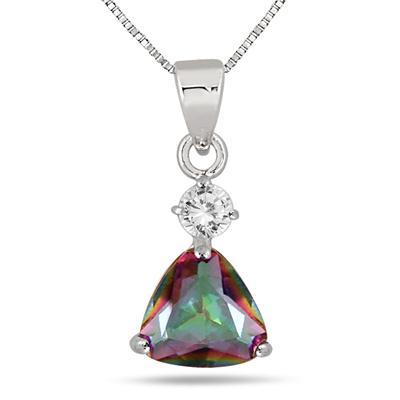 3.75 Carat Trillion Cut Natural Mystic Rainbow Topaz Set in .925 Sterling Silver