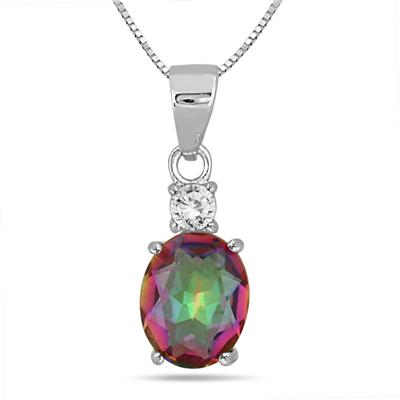3.75 Carat Natural Mystic Rainbow and White Topaz Pendant and Earring Set in .925 Sterling Silver