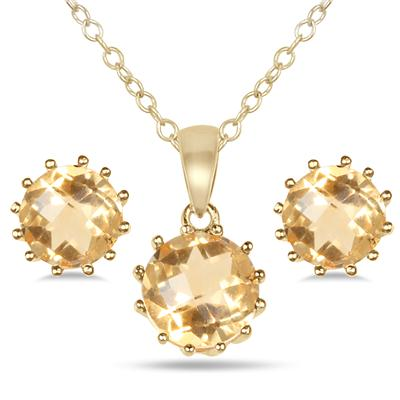 4 Carat Citrine Pendant and Earring Set in 18K Gold Plated Sterling Silver